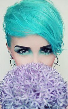 aqua, turquoise, crop, short, sweeping fringe, asymmetrical