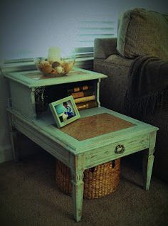 Charmingly Shabby, Coastal Chic Vintage Two Tier Side Table