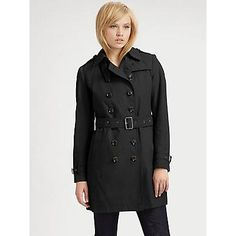 $995, Black Trenchcoat: Burberry Brit Belted Trenchcoat Black. Sold by Saks Fifth Avenue. Click for more info: https://lookastic.com/women/shop_items/53979/redirect
