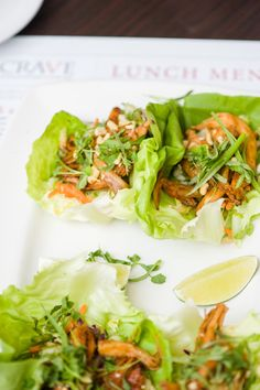 Butter lettuce wraps with peanuts, sesame soy chicken and fresh veggies at Crave, Mall of America