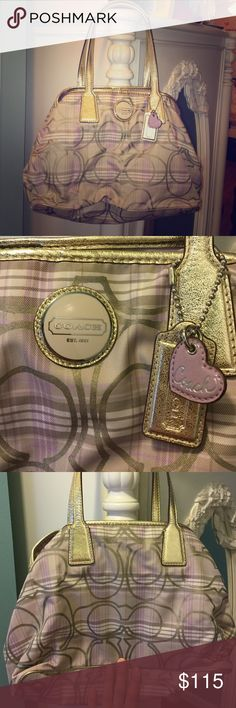 Plaid Purple Coach Purse Authentic Coach Purse. Just like new and only used twice. In great condition and so lovely! Coach Bags Shoulder Bags