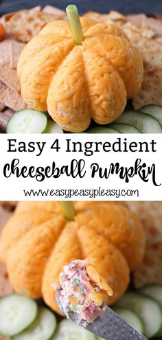 This 4 Ingredient Cheeseball Pumpkin is the same great taste as my original but made festive for Fall. Perfect appetizer for Halloween and Thanksgiving. #cheeseball #thanksgivingcheeseball #halloweencheeseball #fallcheeseball