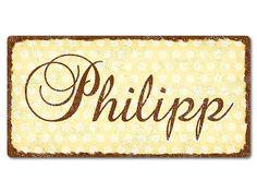 """Philipp - Dekoschild Pünktchen mit Wunschtext 200 x 100 mm vintage gelb. Dekoschild """"Pünktchen"""" mit Wunschtext 200 x 100 mm vintage gelb  Pünktchen trifft"""