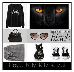 """Black cat"" by marianavegamiranda on Polyvore featuring moda, Miss Selfridge, Charlotte Olympia y Oscar de la Renta"