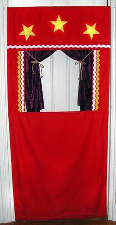 puppet theater - hang in a doorway from a spring tension curtain rod