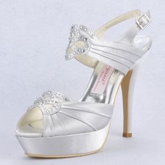 """Dyeable Charming 5"""" Rhinestones Peep-toe Sandals - Ivory Satin Wedding Shoes (11 colors),US$85.98   Read More:     http://www.weddingscasual.com/index.php?r=charming-5-rhinestones-peep-toe-wedding-sandals.html"""