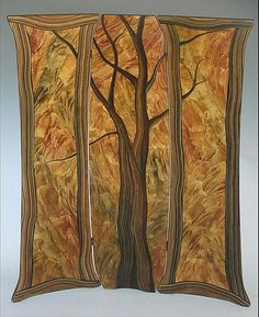Hand painted fireplace screen c splendor tree folding screen by ingela noren and daniel grant painted wood screen available at www teraionfo