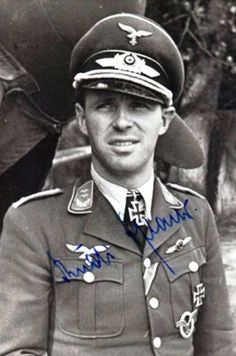"""Oberleutnant Rudolf """"Rudi"""" Pflanz  . Rudolf Pflanz was credited with 52 victories. All his victories were recorded over the Western Front and included 45 Spitfires."""