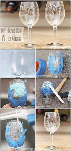 DIY Etched Glass Mommy's Sippy Cup Wine Glass + Silhouette Cameo Discount and… Silhouette Cameo, Silhouette Design, Silhouette Files, Etched Wine Glasses, Painted Wine Glasses, Etched Glass, Diy Glass Etching, Diy Glasses, Sippy Cups