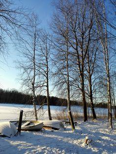 Sunny January day in Jyväskylä, Finland.