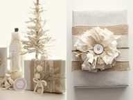 white and burlap christmas gift wrap