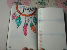 Bullet journal diseño meses portada junio dreamcatcher plumas