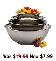 Set of 4 Nesting Stainless Steel Prep Bowls $7.99 (Reg $19.99) - http://couponingforfreebies.com/set-4-nesting-stainless-steel-prep-bowls-7-99-reg-19-99/