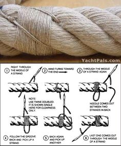 sailmaker's rope whip - I could use this technique to keep trim from fraying without the use of special adhesives and sealants. Splicing Rope, Couture Cuir, Rope Art, Rope Knots, Rope Crafts, Paracord Projects, Fishing Knots, Sailboat, Twine