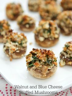 Walnut and Blue Cheese Stuffed Mushrooms make delicious vegetarian appetizers. These bite sized mushrooms are packed with flavor! #aggieskitchen