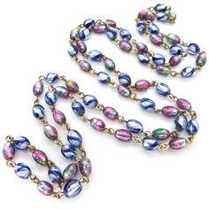 Vintage Art Deco Bohemian Striped Pink & Blue Foil Glass Bead Necklace | Clarice Jewellery | Vintage Jewellery | Vintage Costume Jewellery