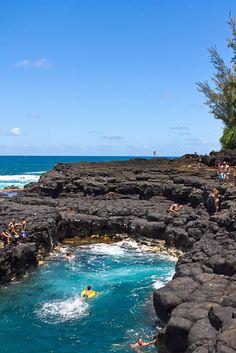 Cliff Diving, Queens Bath, Kauai, Hawaii.  www.hawaiiislandrecovery.com. #hawaiirehab www.hawaiiislandrecovery.com