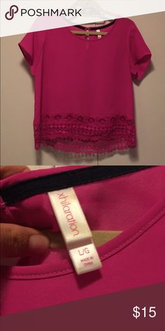 Xhileration Pink Blouse with Woven Trim Size L pink Xhileration blouse with woven trim. Xhilaration Tops Blouses