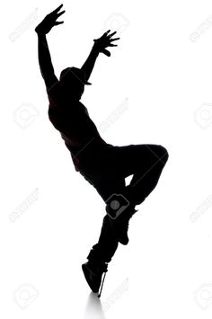 Silhouette Of Hip Hop Dancer Over A White Background Stock Photo ...
