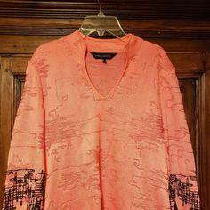 MING WANG Textured Knit Split V Coral Black Trim Tunic Top Sz Small Art to  Wear  b84fd977bcb
