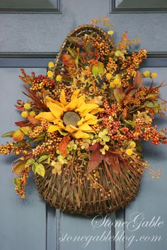 StoneGable: FALL ON THE FRONT PORCH--Basket/Wreath