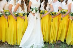Bridesmaids in white and long yellow skirts. Love this!