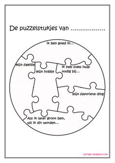 ik ben in puzzelstukjes Coaching, Art Therapy, Therapy Tools, Teach Like A Champion, Learn Dutch, Mindfulness For Kids, Becoming A Teacher, Beginning Of The School Year, Busy Book