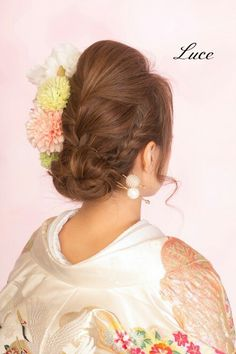 和装ヘア Braided Updo, Braided Hairstyles, Wedding Hairstyles, Japanese Kimono, Updos, Bridal Hair, Braids, Hair Beauty, Make Up