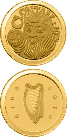 N♡T.20 euro: The Battle of Clontarf.Country:Ireland  Mintage year:2014 Issue date:30.04.2014 Face value:20 euro Diameter:13.92 mm Weight:1.24 g Alloy:Gold Quality:Proof
