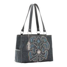 American West Mayflower Tote Shoulder Handbag Studded Steel Blue Leather #AmericanWest #ShoulderBag