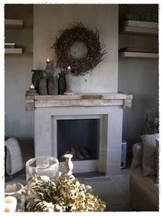 incorporate rusticated wood as mantel Bedroom Fireplace, Faux Fireplace, Fireplace Mantle, Fireplace Design, Fireplaces, Classic Fireplace, Traditional Fireplace, Modern Fireplace, Vibeke Design