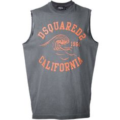 Dsquared2 California muscle T-shirt ($140) ❤ liked on Polyvore featuring men's fashion, men's clothing, men's shirts, men's t-shirts, grey, mens grey shirt, mens cotton sleeveless t shirts, men's muscle tee shirts, mens gray dress shirt and mens sleeveless shirts