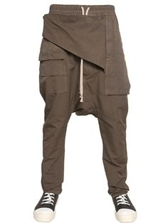 RICK OWENS - 18CM COTTON MURRAY PANELED TROUSERS - LUISAVIAROMA - LUXURY SHOPPING WORLDWIDE SHIPPING - FLORENCE