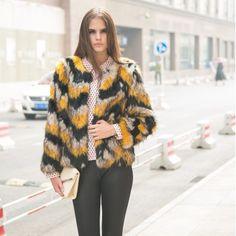 ホット! 色のキツネの毛皮のファッションショートコート2014年/新しい冬のジャケットファッション人格/人工皮草仕入れ、問屋、メーカー・生産工場・卸売会社一覧