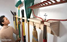 Create a simple long-handled tool hanger out of two 1x4s. On the first one, drilla series of 2-in. holes along the edge of the board. The trick is to center each holeabout 1 in. from the edge. That leaves a 1-1/2-in. slot in the front that you canslip the handles through. Space the holes to accommodate whatever it is you'rehanging. Screw that board to another 1x4 for the back and add 45-degree bracketsto keep it from sagging. If you wish, pound nails into the vertical board tohang even more…
