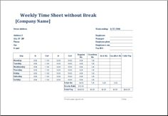 Weekly Time Sheet For Employees Without Break Download At Http