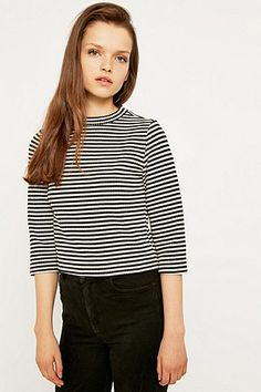 Urban Outfitters Mono Stripe Turtleneck Top - Urban Outfitters