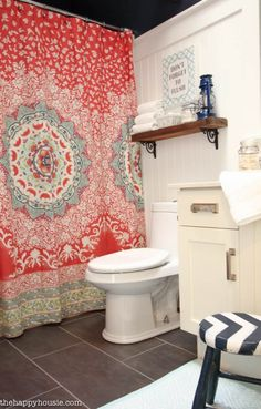 Boho Chic Bathroom Makeover with Hale Navy Coral and Turquoise at thehappyhousi Turquoise Bathroom Decor, Bohemian Bathroom, Bathroom Wall Decor, Bathroom Colors, Navy Bathroom, Master Bathroom, Bathroom Ideas, Bathroom Remodeling, Bohemian Shower Curtain