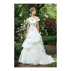 Amazing Pleated V-neck Button Organza Wedding Dresses - by OKDress UK (1,845 HKD) via Polyvore featuring dresses and wedding dresses