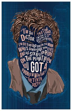 Items similar to The Doctor David Tennant Famous Hair Lines print, typography and illustration mix, fan art, 11 x unique poster and Doctor Who gift on Etsy Doctor Who Gifts, Doctor Who Fan Art, Unique Poster, 10th Doctor, The 10, David Tennant, Digital Prints, Typography, Illustration