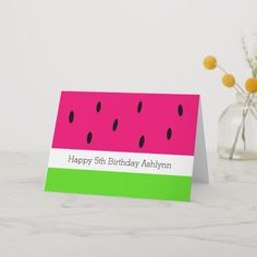 Shop Cute Watermelon Birthday Card created by charmeddaystudio. Personalize it with photos & text or purchase as is! Happy Birthday Daughter Cards, Happy 5th Birthday, Kids Birthday Cards, Birthday Messages, 1st Birthday Girls, Handmade Birthday Cards, Cute Watermelon, Watermelon Birthday, Name Cards