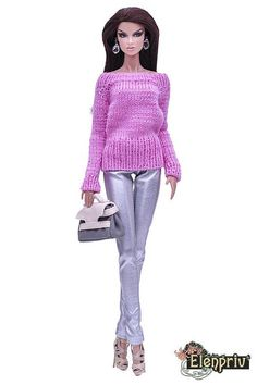 ELENPRIV hand-knitted pink sweater for Fashion Royalty FR2 and