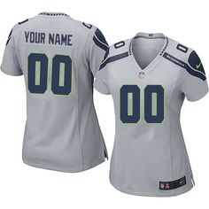 142750047e9 Nike Seattle Seahawks Customized Grey Stitched Elite Women s NFL Jersey  Seahawks Gear