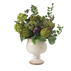 No one could say that you don't have a flair for the unique and the creative when you surprise them with this lovely Artichoke and Hydrangea arrangement. These two plants merge quite well to complemen