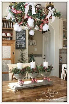 French Farmhouse Holiday Kitchen 2013 French Farmhouse Christmas Kitchen From My Front Porch To Yours Noel Christmas, Country Christmas, Winter Christmas, Christmas Crafts, Elegant Christmas, Christmas Photos, French Christmas, Cottage Christmas, Reindeer Christmas