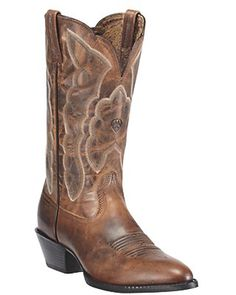Ariat Ladies Sassy Distressed Brown Heritage R-Toe Traditional Toe Western Boots