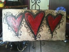 hearts on canvas
