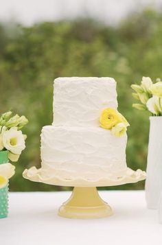 Love the texture! Bright Looking Simple Rustic Wedding Cake. A small one for you guys instead of a big ole cake! 2 Tier Wedding Cakes, Buttercream Wedding Cake, Wedding Cake Rustic, Buttercream Frosting, 2 Tier Cake, Tiered Cakes, Pretty Cakes, Beautiful Cakes, Beautiful Flowers