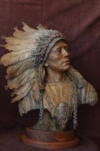 """I Walk The Red Road"" Artist - Native American bust in full headdress 24"" H x 18"" W Limited Edition Bronze of 35"
