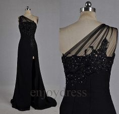 Custom Black Beaded Applique One Shoulder Long Prom Dresses Formal Evening Gowns Wedding Party Dresses Formal Party Dresses Formal Dresses on Wanelo